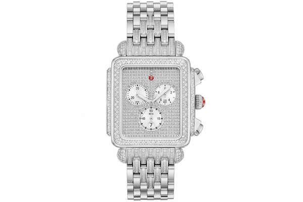 Large image of Michele Deco Limited Edition Chronograph XL Stainless Diamond Bracelet Watch, Pave Diamond Dial, 35mm - MWW06Z000038