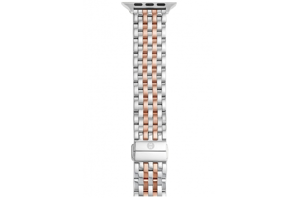 Large image of Michele 38/40mm & 42/44mm Two-Tone 18k Pink Gold-Plated Apple Watch Bracelet Band - MS20GL775045