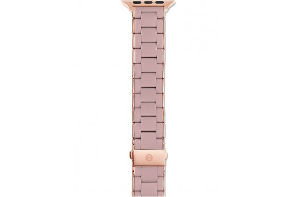 Large image of Michele 38/40mm & 42/44mm Rose/Pink Gold-Tone Silicone-Wrapped Apple Watch Bracelet Band - MS20GN767652