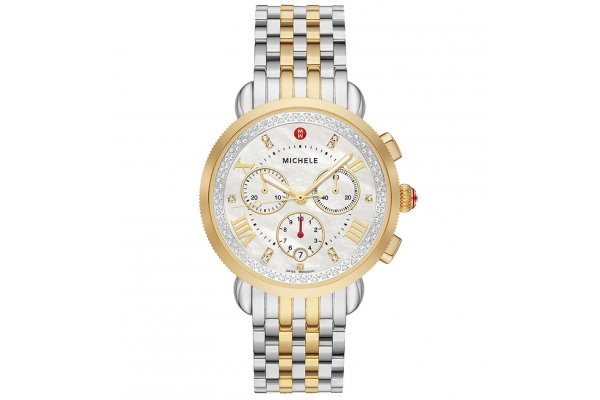 Large image of Michele Sport Sail Chronograph Two-Tone Diamond Stainless Steel Watch, White MOP Dial, 38mm - MWW01C000142