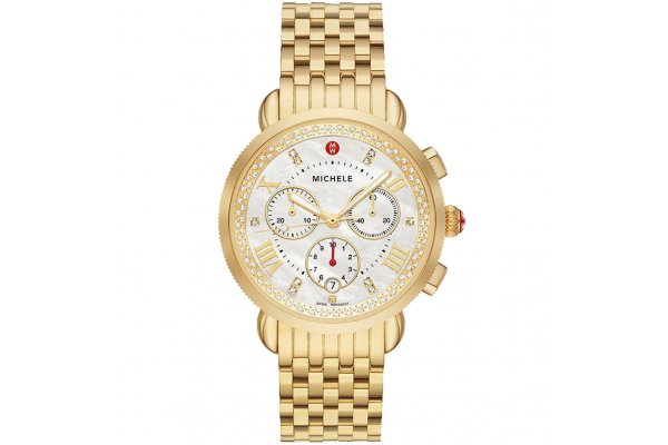 Large image of Michele Sport Sail Chronograph Gold Diamond Stainless Steel Watch, White MOP Dial, 38mm - MWW01C000143