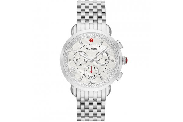 Large image of Michele Sport Sail Chronograph Diamond Stainless Steel Watch, White MOP Dial, 38mm - MWW01C000141