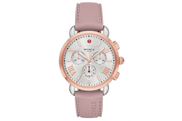 Large image of Michele Sporty Sail Chronograph Two-Tone Pink Gold Watch, White Silver Sunray Dial, 38mm - MWW01P000009