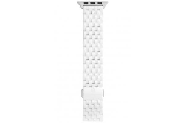 Large image of Michele 38/40mm & 42/44mm White Ceramic Apple Watch Bracelet Band - MS20GO795100