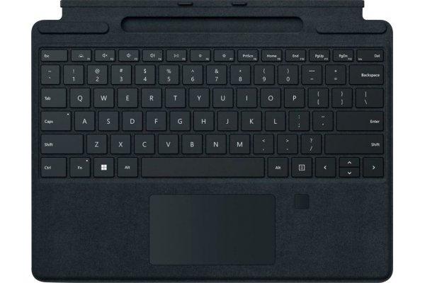 Large image of Microsoft Surface Pro Black Signature Keyboard With Fingerprint Reader - 8XF-00001