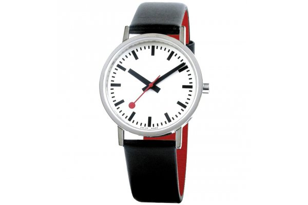 Large image of Mondaine Classic Pure White Dial Watch, Black Leather Strap, 36mm - A6603031416OM
