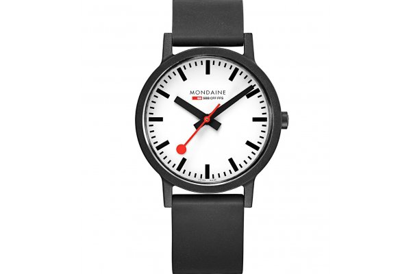 Large image of Mondaine Essence Eco-Friendly White Dial Watch, Black Strap, 41mm - MS141110RB