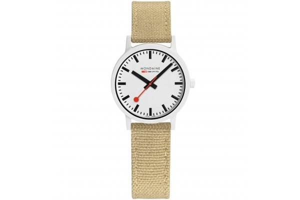 Large image of Mondaine Essence Eco-Friendly White Dial Watch, Silver Green Textile Strap, 32mm - MS132110LS