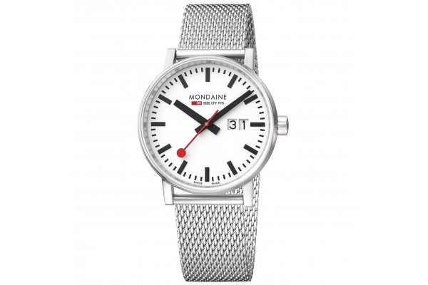 Large image of Mondaine Evo2 Big Date White Dial Watch, Stainless Steel Brushed Bracelet, 40mm - MSE40210SM