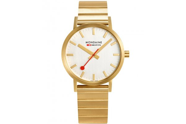 Large image of Mondaine Railways Classic Silver Dial Watch, IP Gold Plated Metal Bracelet, 40mm - A6603036016SBM