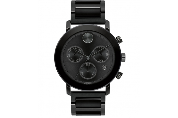 Large image of Movado BOLD Evolution Quartz Chronograph Black Ion-Plated Stainless Steel Watch, Black Dial, 42mm - 3600684