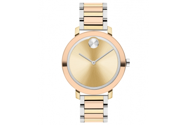Large image of Movado BOLD Evolution Quartz Tri-Color Stainless Steel Watch, Light Gold Dial, 34mm - 3600704