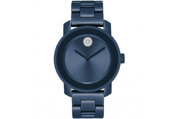 Large image of Movado BOLD Navy Ceramic Bracelet Watch, Navy Dial, 36.3mm - 3600756