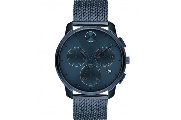 Large image of Movado BOLD Thin Quartz Chronograph Blue Dial Watch, 42mm - 3600633