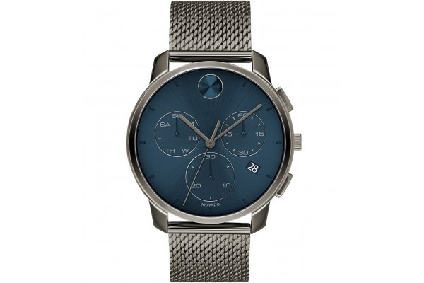 Large image of Movado BOLD Thin Quartz Chrono Blue Dial Watch, Grey IP Stainless Steel Bracelet, 42mm - 3600721