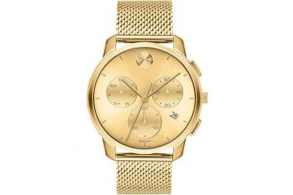 Large image of Movado BOLD Thin Quartz Chronograph Gold-Toned Dial Watch, 42mm - 3600634