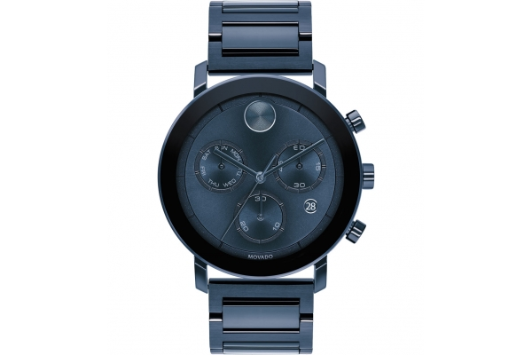 Large image of Movado BOLD Evolution Quartz Chronograph Blue Ion-Plated Stainless Steel Watch, Blue Dial, 42mm - 3600683