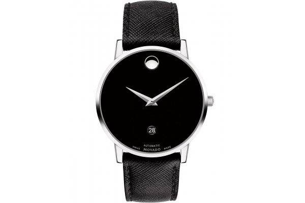 Large image of Movado Museum Classic Automatic Black Dial Watch, Black Leather Strap, 40mm - 0607473