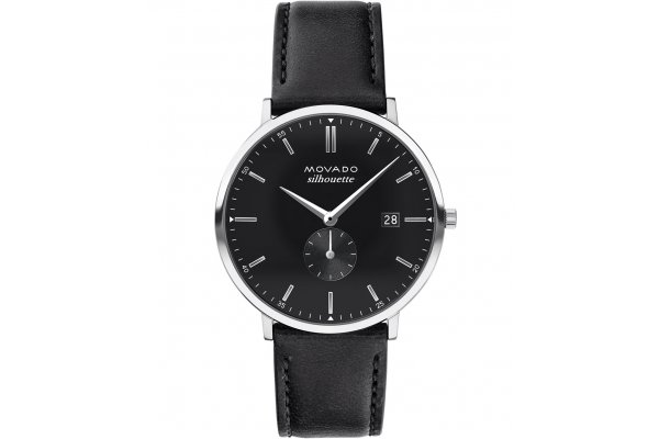 Large image of Movado Heritage Series Black Dial Watch, Black Leather Strap, 40mm - 3650066