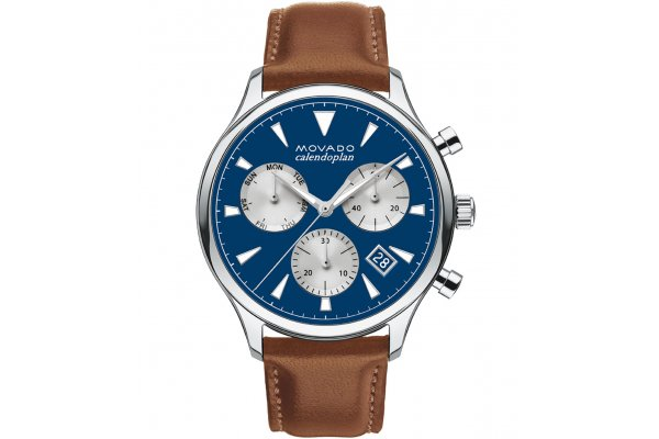 Large image of Movado Heritage Series Chronograph Blue Dial Watch, Brown Leather Strap, 43mm - 3650113