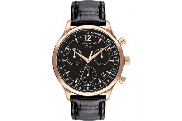 Large image of Movado Heritage Series Circa Quartz Chronograph Black Dial Watch, 43mm - 3650109