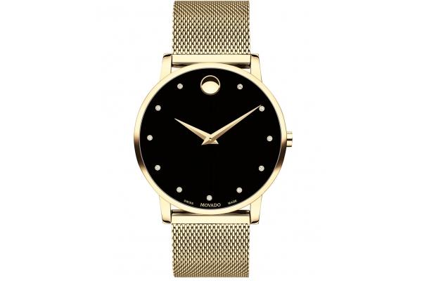 Large image of Movado Museum Classic Quartz Yellow Gold PVD Mesh Bracelet Watch, 40mm - 0607512