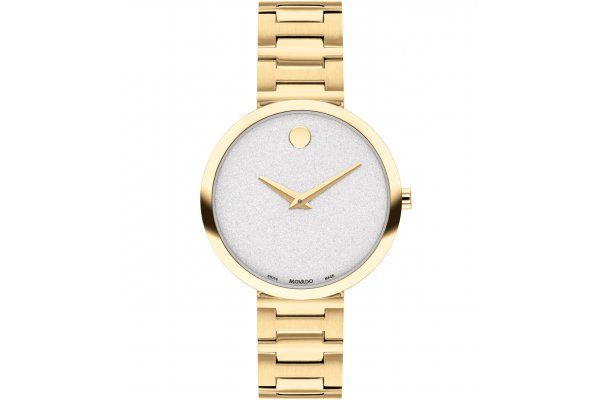 Large image of Movado Museum Classic White Sparkle Dial Watch, Light Yellow Gold PVD Bracelet, 32mm - 0607519