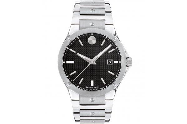 Large image of Movado SE Automatic Black Paves de Paris Dial Watch, Stainless Steel Bracelet, 41mm - 0607551