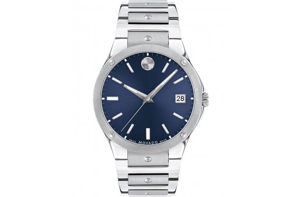 Large image of Movado SE Blue Sunray Dial Watch, Stainless Steel Bracelet, 41mm - 0607513
