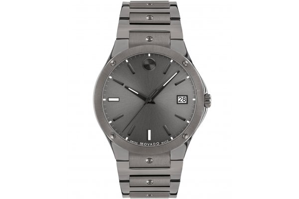 Large image of Movado SE Mid Grey Sunray Dial Watch, Grey PVD Stainless Steel Bracelet, 41mm - 0607515