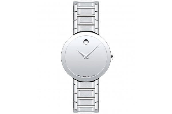 Large image of Movado Sapphire Silver Mirror Dial Watch, Stainless Steel Bracelet, 28mm - 0607547