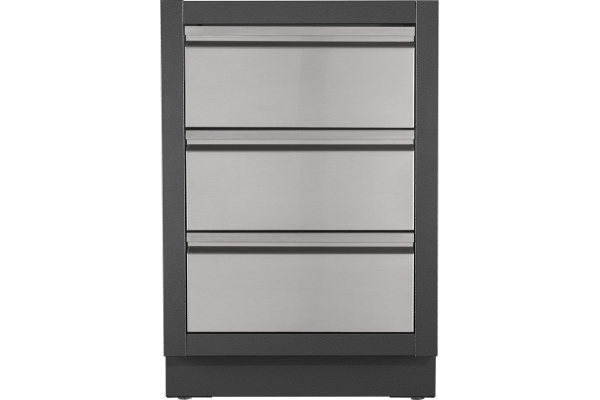 Large image of Napoleon Oasis Grey Two Drawer Cabinet With False Top Drawer - IM-2DC-CN