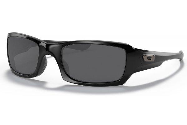 Large image of Oakley Fives Squared Polished Black Sunglasses, Grey Lenses, 54mm - 923804