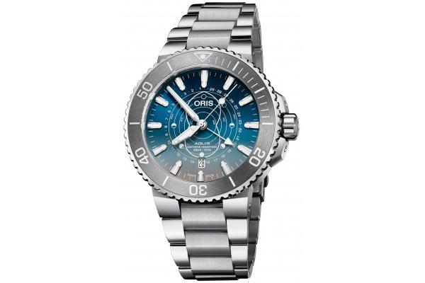 Large image of Oris Aquis Dat Watt Limited Edition Blue Dial Watch, Stainless Steel Bracelet, 43.50mm - 0176177654185SET