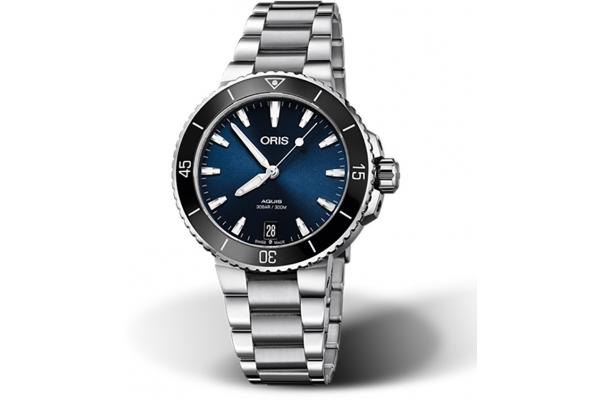 Large image of Oris Aquis Date Blue Dial Watch, Stainless Steel Bracelet, 36.50mm - 01733773141350781805P