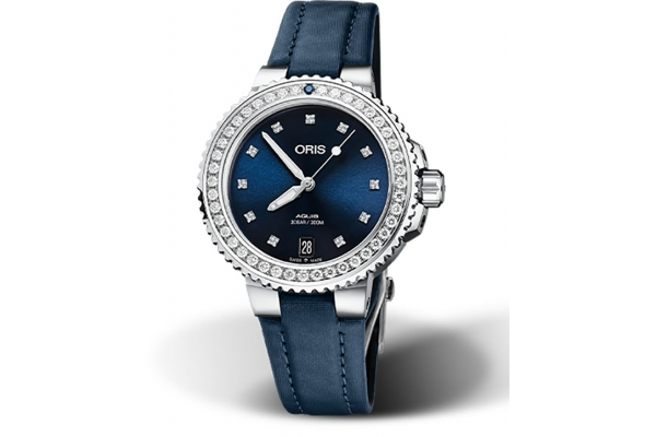 Large image of Oris Aquis Date Diamonds, Blue Dial Watch, 36.50mm - 01733773149950751846FC