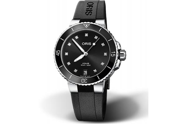 Large image of Oris Aquis Date Diamonds Black Dial Watch, Black Rubber Strap, 36.50mm - 01733773141940741864FC