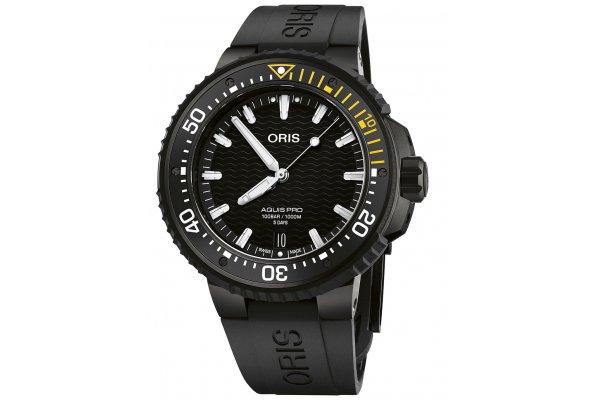 Large image of Oris AquisPro Date Calibre 400 Black Dial Watch, Black Rubber Strap, 49.50mm - 01400776777540742664BTEB