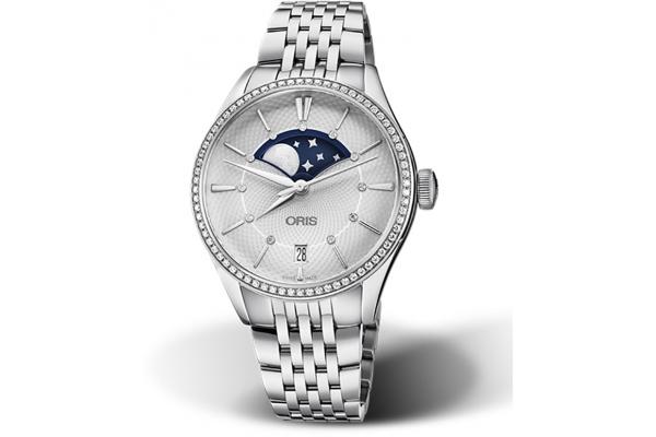 Large image of Oris Artelier Grande Lune Diamonds, Silver Dial Watch, 36mm - 01763772349510781879