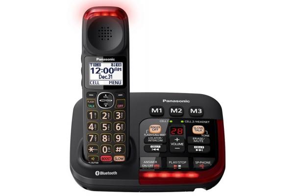 Large image of Panasonic Black Link2Cell Bluetooth Amplified Cordless Phone With Digital Answering Machine - KX-TGM430B