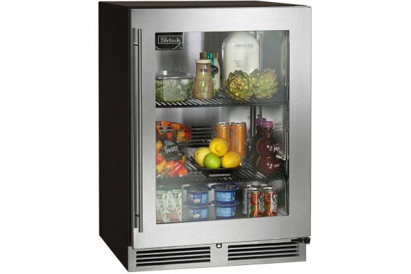 "Large image of Perlick ADA Compliant 24"" Stainless Frame Left-Hinge Indoor Refrigerator - HA24RB-4-3L"