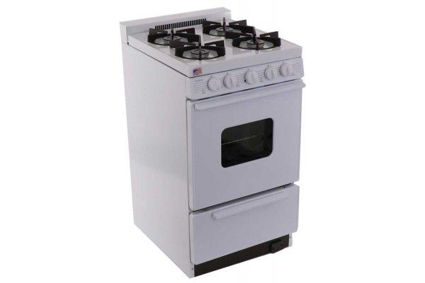 "Large image of Premier 20"" White Cordless Gas Range - BHK5X0OP"
