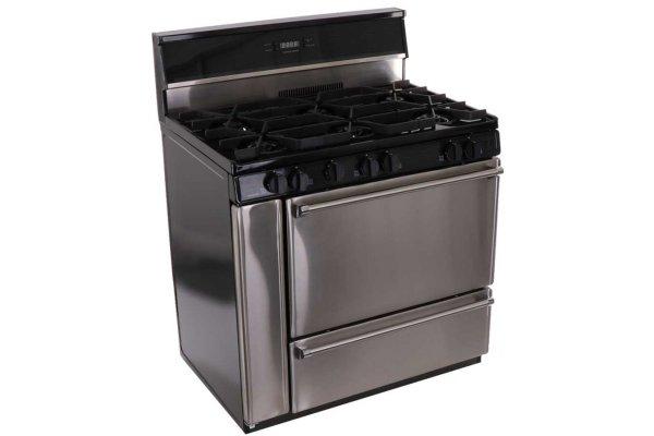 "Large image of Premier Pro Series 36"" Stainless Steel Gas Range - P36S148BP"