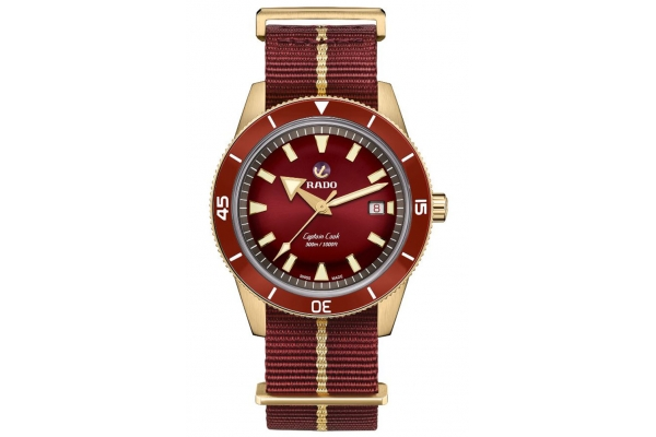 Large image of Rado Captain Cook Automatic Bronze Watch, Red Dial, 42mm - R32504407