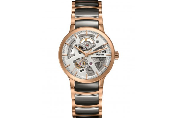 Large image of Rado Centrix Automatic Open Heart Light Dial Stainless Steel Watch, 38mm - R30181104