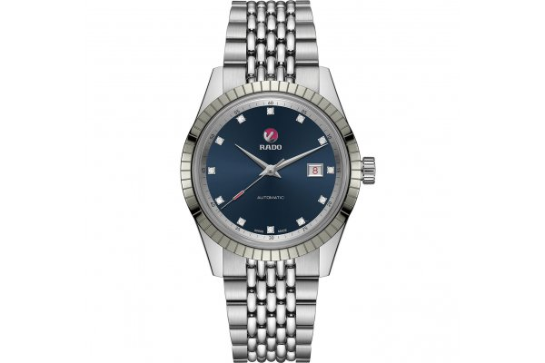 Large image of Rado HyperChrome Classic Automatic Diamonds Watch, Blue Dial, 42mm - R33101713