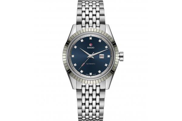 Large image of Rado HyperChrome Classic Automatic Diamonds Watch, Blue Dial, 35mm - R33103713