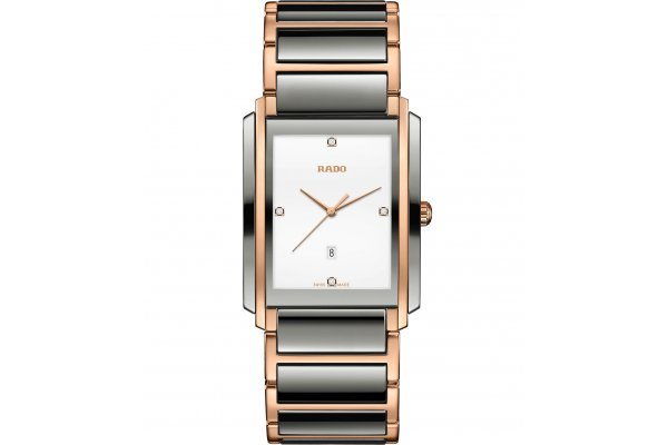 Large image of Rado Integral Diamonds Quartz Two-Tone High-Tech Ceramic Bracelet Watch, 31mm - R20140712