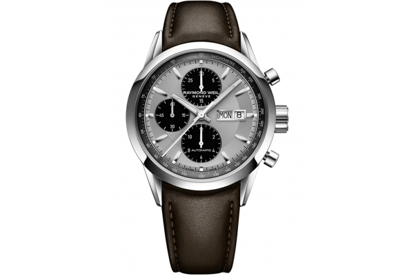 Large image of Raymond Weil Freelancer Automatic Chronograph Brown Leather Watch, Silver Dial, 42mm - 7732STC65201