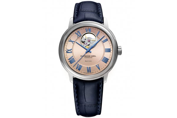 Large image of Raymond Weil Maestro Automatic Pink Dial, Blue Leather Strap Watch, 40mm - 2227STC00808